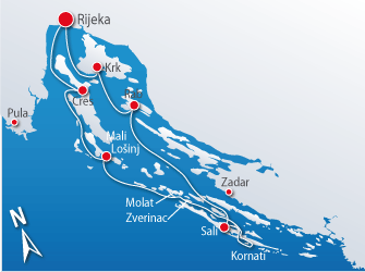 Blue cruise - Route R1- Door de Kvarner eilanden en Noord-Dalmatië naar Zadar en Nationaal park Kornati