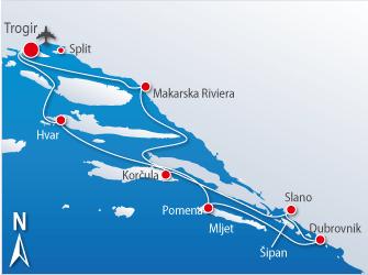 Blue cruise - Route T3 – Hoogtepunten Midden-Dalmatië inclusief Dubrovnik