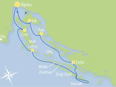 Route R2 – Door de Kvarner Eilanden en Noord-Dalmatië naar Zadar en Nationaal Park Kornati