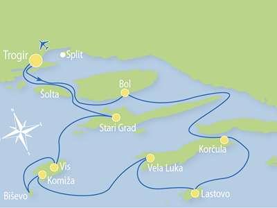 Route T1- Ontdek Centraal en Zuid-Dalmatië, 7 dagen/ 7 eilanden