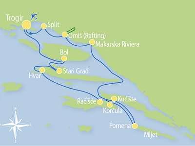 Blue cruise - Route TC- Actief en Relax combinatie cruise Midden- en Zuid-Dalmatië