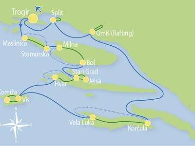Route TV- Fietsend eilandhoppen door Midden- en Zuid-Dalmatië inclusief Vis en rafting op de Cetina rivier
