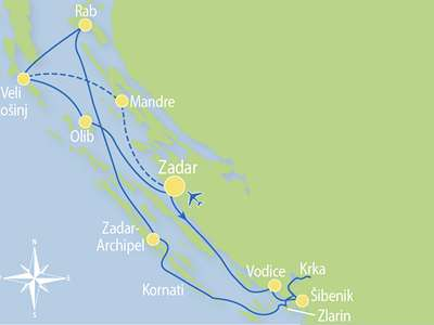 Route Z1- Eilandparadijs Noord-Dalmatie, nationale parken en eiland Rab