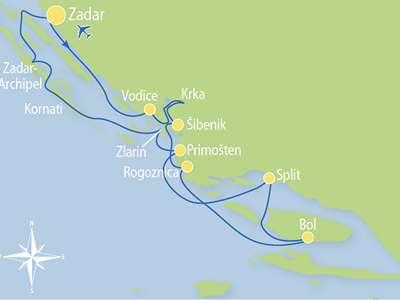 Route Z2 – Paradijselijk eilandhoppen in Noord- en Midden Dalmatië naar het mooiste strand en Split