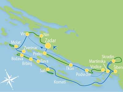 Route ZB – Fietscruise: op de pedalen in Noord-Dalmatië: van de Kornati eilanden tot de Krka watervallen