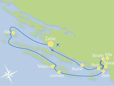 Route ZC – Actief en Relax combinatie cruise van Zadar